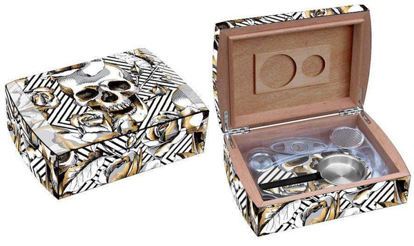 Load image into Gallery viewer, Skull and Roses Travel Humidor Set Side By Side