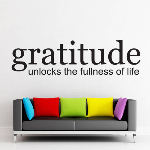 DIY Black Vinyl Wall Decals Quotes Gratitude Unlocks The Fullness Of Life Removable Wall Sticker Home Decor Living Room ZA699