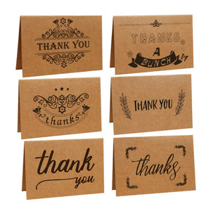 New Birthday Flower Shop Printing Gratitude Handwriting Greeting Cards Retro Kraft Paper Thank You Card W9046