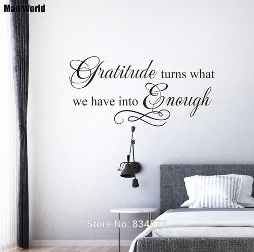 Gratitude turns what we have into enough Wall Art Stickers Wall Decals Home DIY Decoration Removable Room Decor Wall Stickers