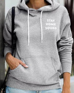 Pockets Long Sleeve Letter Drawstring Hoodies