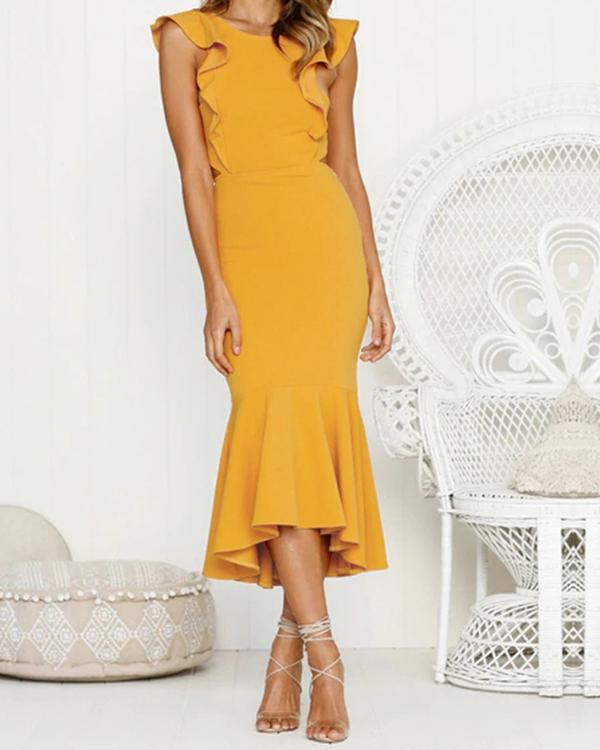 Casual Sexy Backless Sleeveless Pure Color Fishtail Maxi Dresses