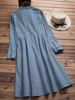 Stand Collar Pleated Solid Color Long Sleeve Vintage Dresses