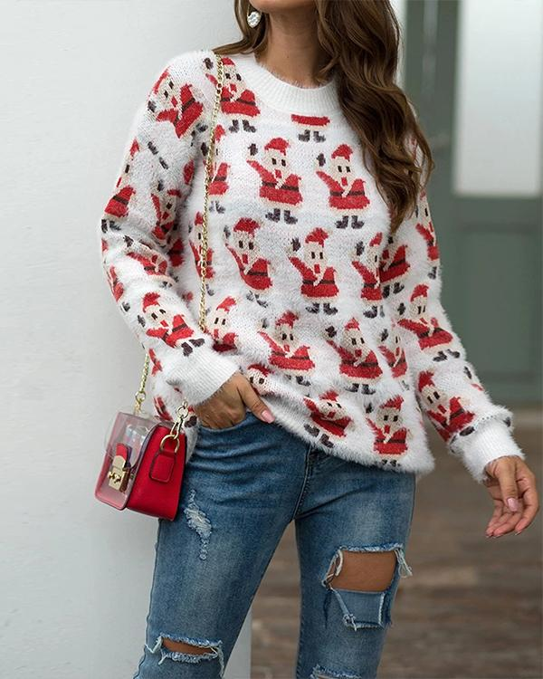 Cartoon Snowman Pattern Round Neck Pullover Sweater