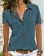 Fashion V-Neck Short Sleeve Casual Solid Shirts Blouses