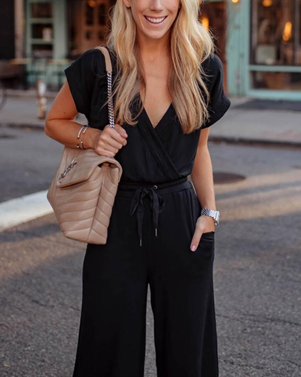 Women Casual Lace-Up Short Sleeve Solid Jumpsuit