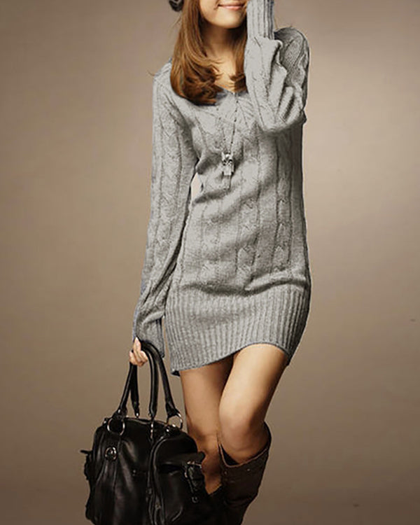 V neck Women Casual Long Sleeve Knitted Cable Plain Casual Dress