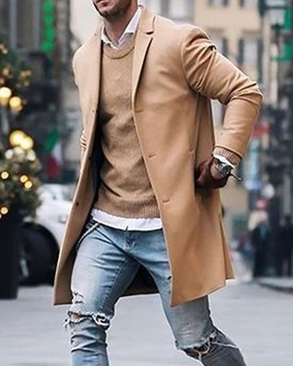 Men Cotton Blend Suit Design Warm Coat Men Casual Trench Coat