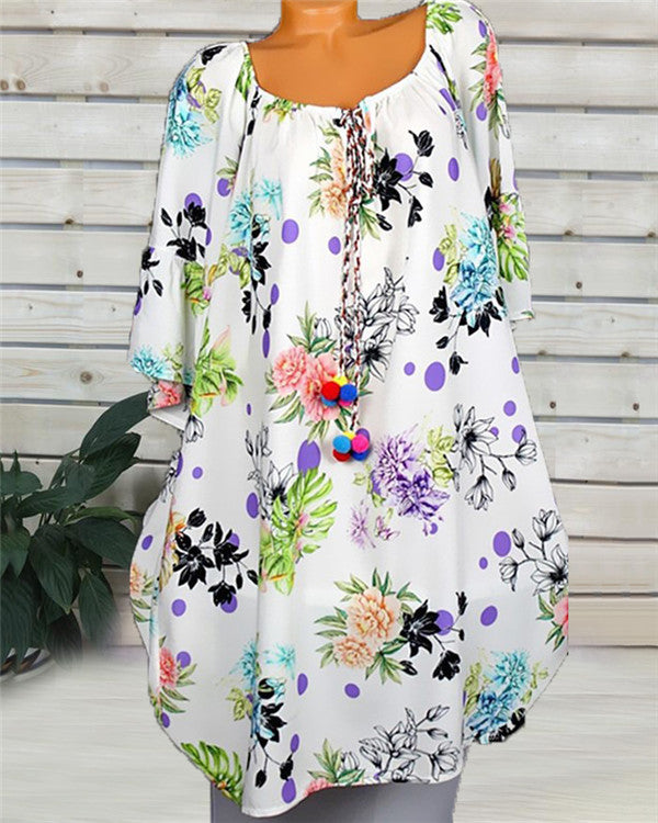 Casual Half Sleeve Round Neck Printed Dress