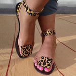 Women Summer Faxu Suede Leopard Sandals