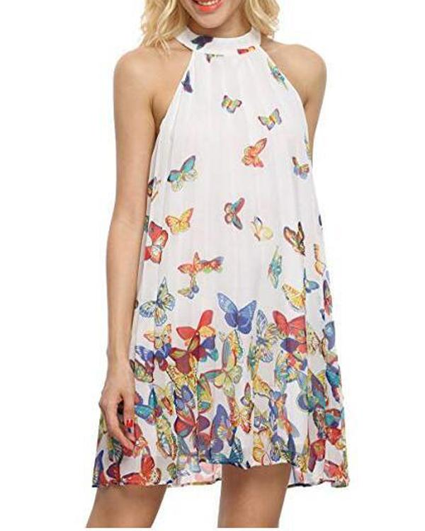Butterfly Printed Sleeveless Women Halter Chiffon Dresses