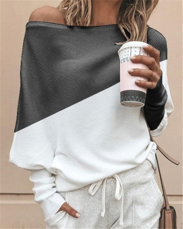 Women's One Shoulder Street Long Sleeve Shift Casual Tops