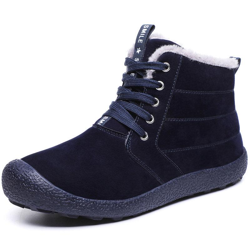 Large Size Men Microfiber Leather Waterproof Warm Ankle Snow Boots