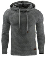Mens Fall Winter Solid Color Jacquard Casual Sport Hoodies