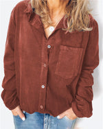 Cords Fall Vintage Casual Holiday Daily Blouse