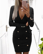 Women Sexy Long Sleeve V-neck Bodycon Mini Dress