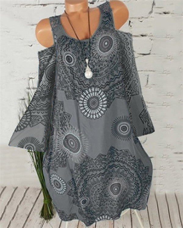 Crew Neck Printed  Summer Dress
