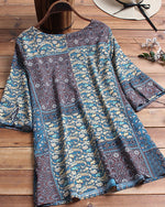Summer Crew Neck Casual Folk Printed Plus Size Blouse