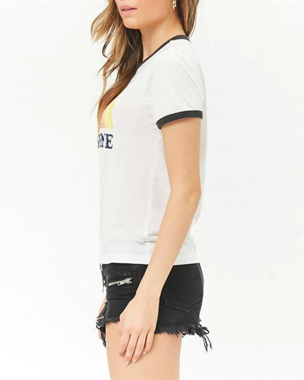 Casual Crew Neck Short Sleeve Rainbow Letter Print Slim T-Shirt Tops