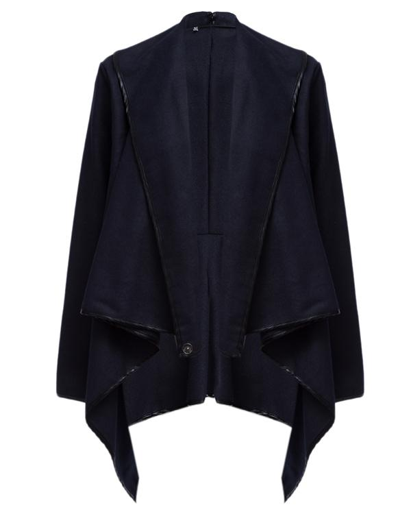 Turtle Neck Front Wrapped Zipper Trench Long Sleeve Coat