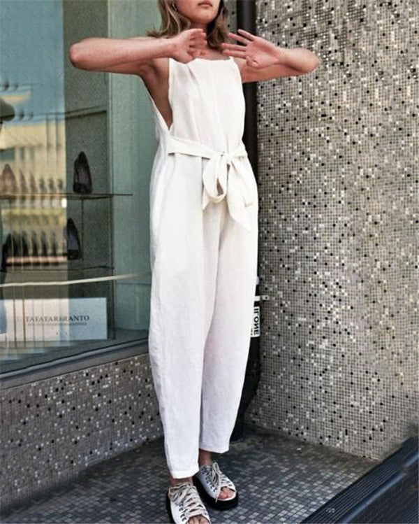 Summer Casual Sleeveless Solid Jumpsuit