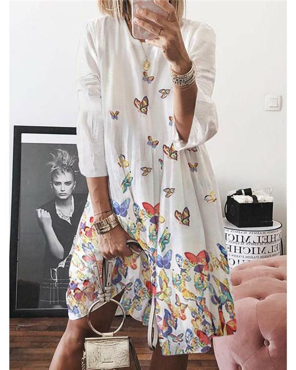 Woman Butterfly Printed Long Sleeve Round Neck Large Swing Dress
