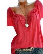 Casual Solid V Neck Short Sleeve Lace Blouse Tops