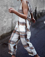 Women Plaid Casual Sleeveless Jumpsuit