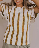 Casual Crew Neck Striped Short Sleeve Plus Size Shirts Tops