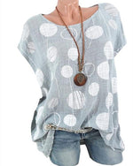 Plus Size Polka Dots Casual Bat Sleeveless Blouse