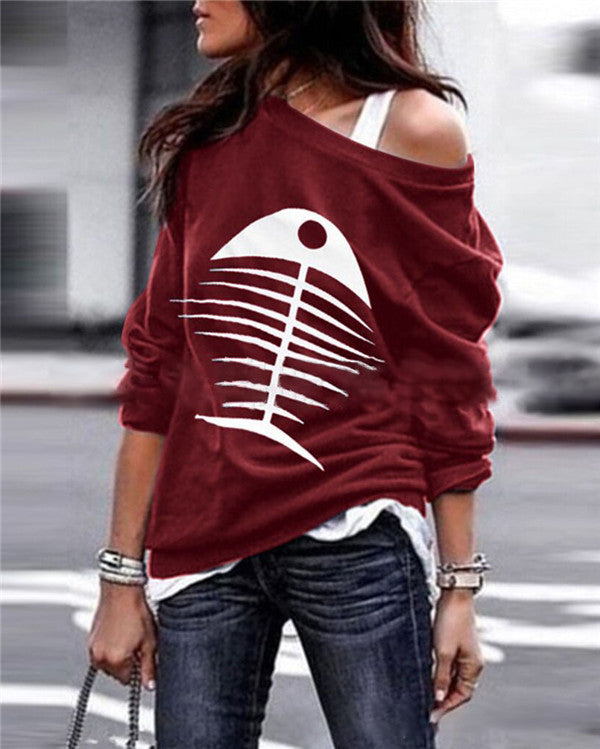 Fish Bone One Shoulder Tops Holiday Fall Daily Casual Blouse