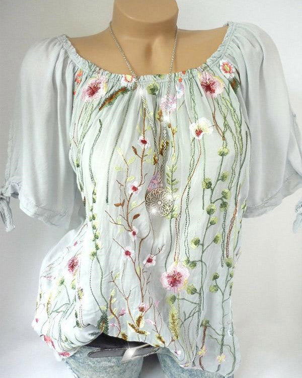 Plus Size Women Printed Casual Loose short Sleeve Blouse Tops