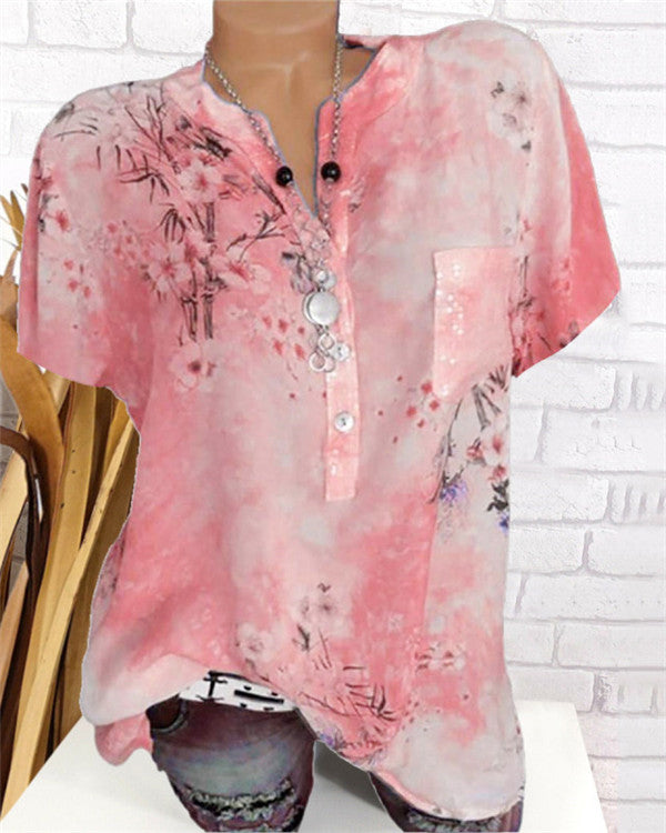 Band Collar Sequin Floral Printed Blouses