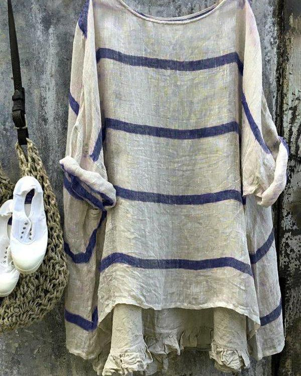 Women Long Sleeve Crew Neck Striped Linen Blouses Tops
