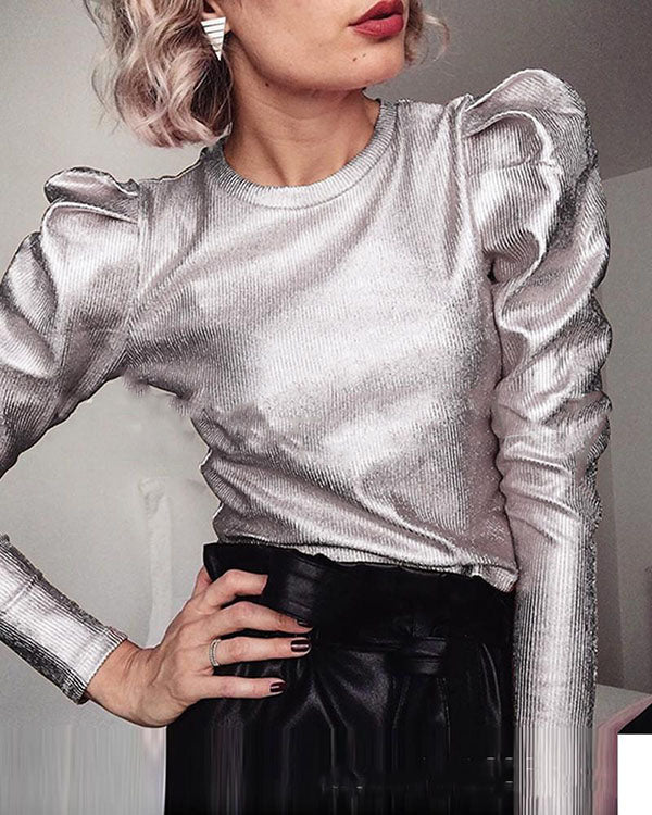 Metallic Color Puff Sleeve Top Blouses