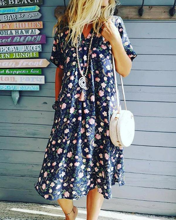Print V-Neck Mid-Calf Floral A-Line Dress