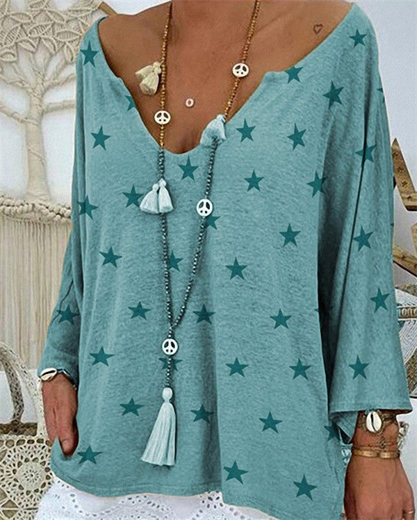 Long Sleeve Star Printed Loose Button Women Daily Shift Tops