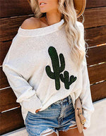 Cactus Cartoon Long Sleeve Sweater Casual Round Neck Daily Shift Tops
