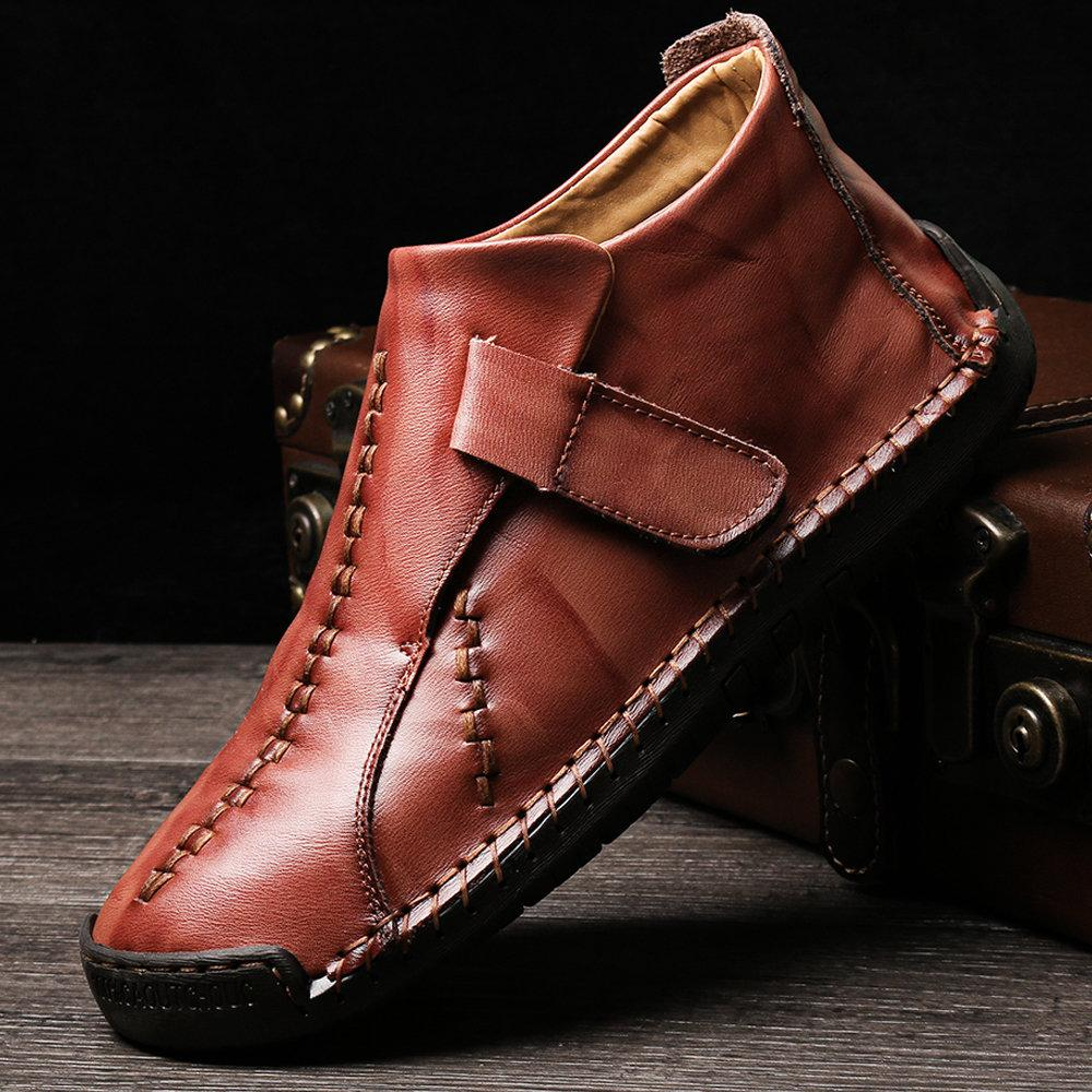 Large Size Men Hand Stitching Hook Loop Leather Ankle Boots