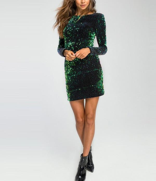 Sexy Sequined Perspective Long Sleeve Bodycon Dress