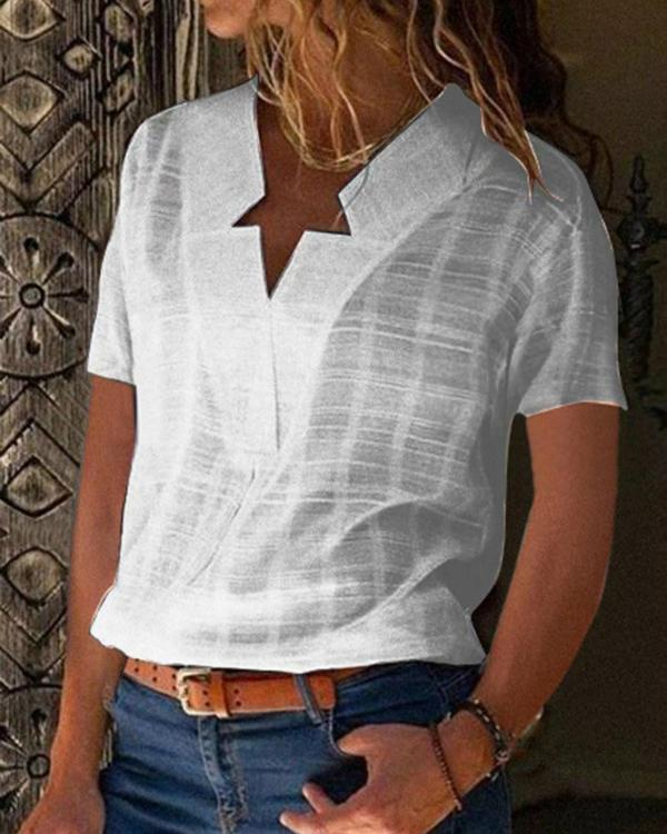 Casual V neck Solid Short Sleeve T-shirts
