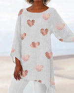 Plus Size Print Irregular Women Summer Blouses Tops