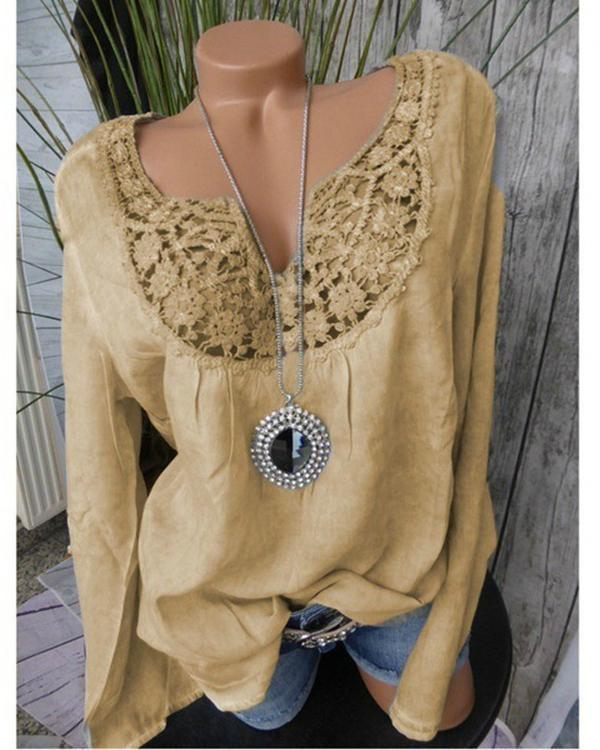Plus Size Lace Patchwork Long Sleeve Notched Neck Blouses