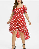 Fashion Sling Short Sleeve V Neck Polka Dot Dresses