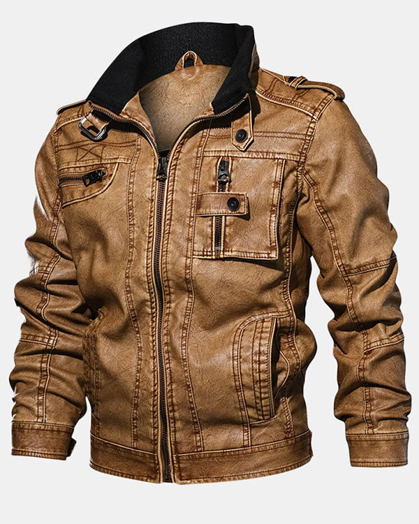 Mens Casual Moto Leather Jacket Multi Pockets Cool Pu Leather Coats