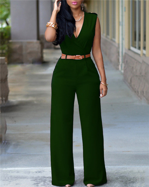 V Neck Solid Casual Short Sleeve Jumpsuits