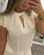 Women Sexy Lace High Neck Solid Color Blouse