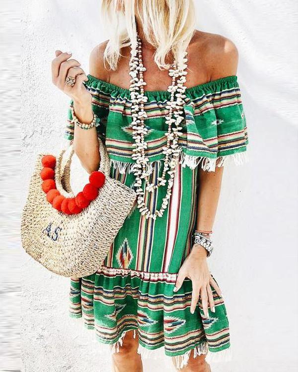 Summer Off Shoulder Bohemian Printed Casual Dress