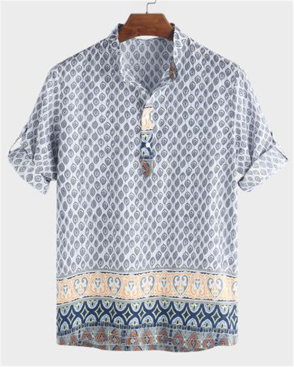 Ethnic Style Printed Stand Collar  Loose Casual Henley Shirts
