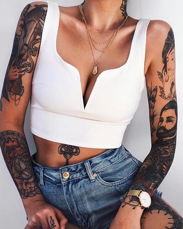Solid Sexy Blouse Casual V-Neck Crop Top